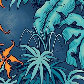 ★ MOODY JUNGLE ★ Monstera, Banana Leaves, Tropical flowers / Blue + Orange - Large Scale / Collection: It's a Jungle Out There – Savage Hawaiian Prints