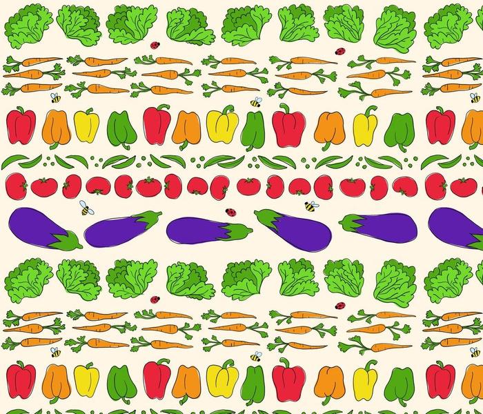 Day in the Vegetable Garden - cream