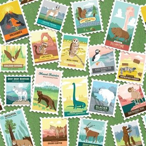 National Parks Stamps Scatter in Green