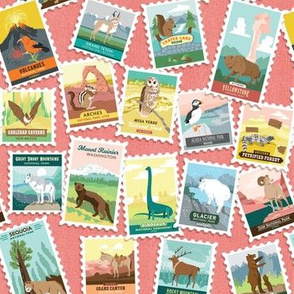 National Parks Stamps Scatter in Coral