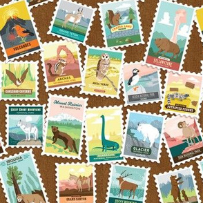 National Parks Stamps Scatter in Brown