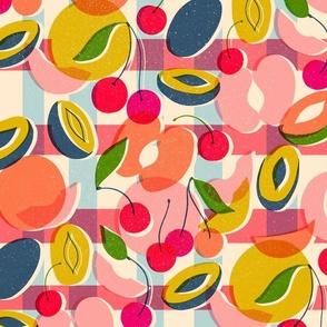 screen print summer fruits // bright