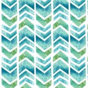 Watercolour Herringbone Geometric Pattern - blue green white - small-medium scale