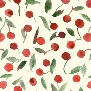 sweet cherries on cream - watercolor summer cherry fruit a347-3