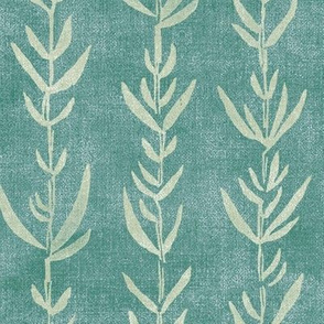 Bamboo Shoots, Sea Green on Teal (xl scale)   Bamboo fabric, block printed leaf pattern, sea kelp, natural plant fabric, neutral mint, neutral lime, calm green decor.
