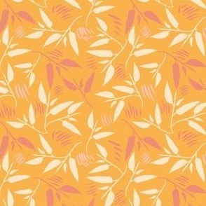 Twisting Leaves tropical yellow and pink small scale