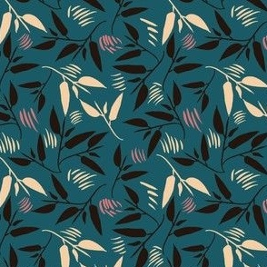 Twisting Leaves monochrome on teal small scale