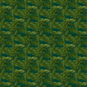 Emerald Green Exotic Palm Tree Pattern Smaller Scale