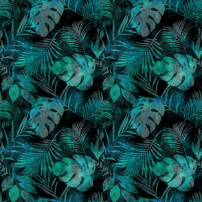 Tropical Leaves Turquoise Green Watercolor  Smaller Scale