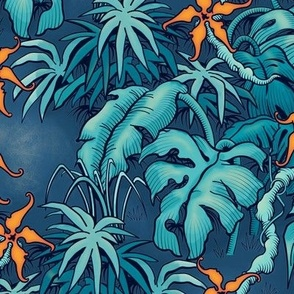 ★ MOODY JUNGLE ★ Monstera, Banana Leaves, Tropical flowers / Blue + Orange - Small Scale / Collection: It's a Jungle Out There – Savage Hawaiian Prints