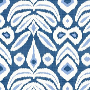 Blue and Cornflower Bloom Ikat