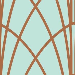 Arcada - Modern Geometric Mint & Copper Jumbo Scale