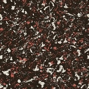 Marbled paint splatter off-black with coral and white