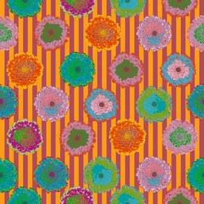 summer flowers love orange and bordeaux stripes