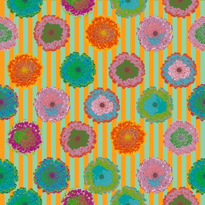 summer flowers love orange and bright green stripes