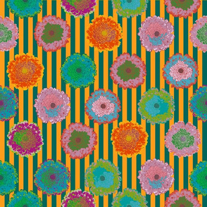 summer flowers love orange and petrol stripes