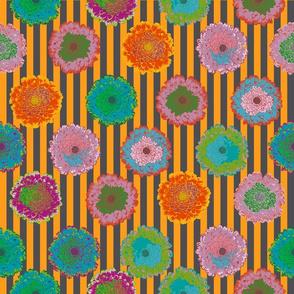 summer flowers love orange and black grey linen stripes