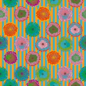 summer flowers love orange and turqouise blue stripes