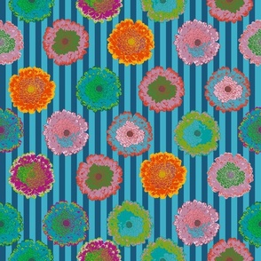summer flowers love dark blue and turquoise stripes