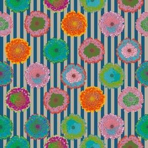summer flowers love dark blue and linen stripes