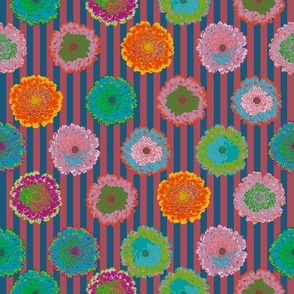summer flowers love dark blue and bordeaux stripes