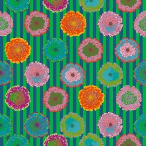 summer flowers love dark blue and grass green stripes