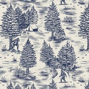 Small-Scale Bigfoot / Sasquatch Toile de Jouy in Blue