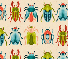 Mid Century Colorful Bugs