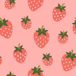 Strawberries -Red on Berry Pink
