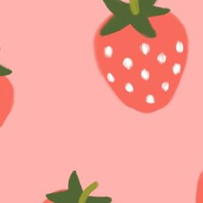 Strawberries -Red on Berry Pink-JUMBO