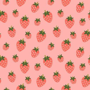 Strawberries -Red on Berry Pink-small