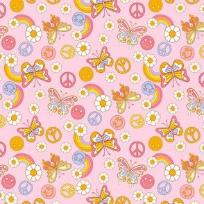 Small  peace butterflies cute girls pastel rainbow daisy fabric