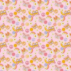 Mini  peace butterflies cute girls pastel rainbow daisy fabric