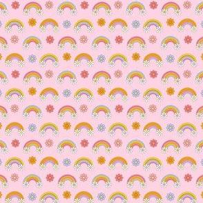 Micro  rainbow daisies fabric, pink girls retro design