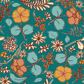 Fall Flowers Teal Large