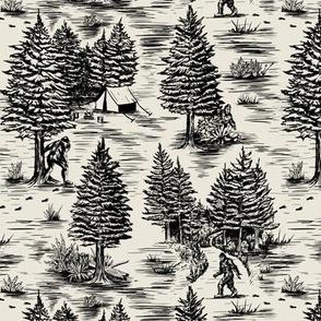 Small-Scale Bigfoot / Sasquatch Toile de Jouy in Black