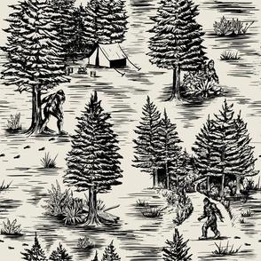 Large-Scale Bigfoot / Sasquatch Toile de Jouy in Black