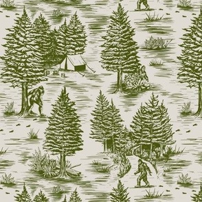 Small-Scale Bigfoot / Sasquatch Toile de Jouy in Forest Green