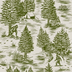 Large-Scale Bigfoot / Sasquatch Toile de Jouy in Forest Green