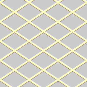 Diagonal Diamond Grid Yellow and Gray