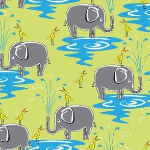 Elephants and Egrets Large