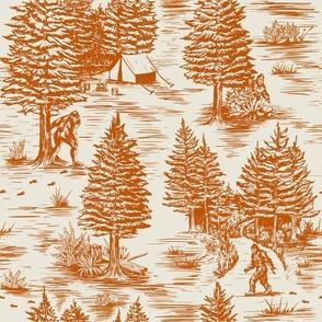 Large-Scale Orange Bigfoot / Sasquatch Toile de Jouy
