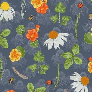 Medium scale / Floral Herb Garden / grey blue