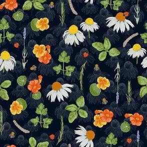 Small scale / Floral Herb Garden / dark blue