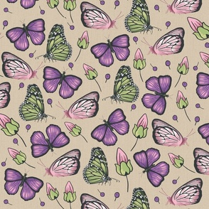 flying butterflies in violet and green medium