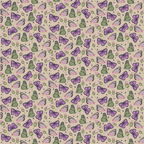 flying butterflies in violet and green small