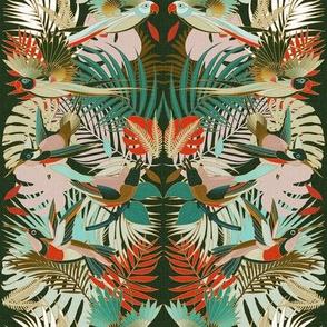 Paradise Birds - Colorful Jungle on Green / Medium