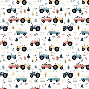 Abstract Tractor - colorful - SMALL