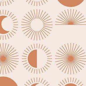 Sunrise sunshine and moon phase designs happy day design burnt orange on cream sand JUMBO rows