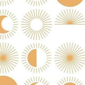 Sunrise sunshine and moon phase designs happy day design honey yellow on white JUMBO rows